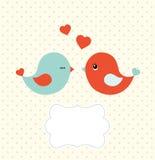 Modello astratto con due uccelli svegli e la struttura in bianco, illustrazione Immagine Stock