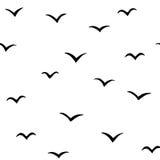 Modello astratto con gli uccelli, fondo del v-modello, illustrazione di vettore, uccelli disegnati a mano Fotografia Stock