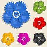 Modello astratto con le ruote di ingranaggio - eleme di progettazione dei grafici di informazioni Fotografia Stock