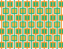 Modello astratto dei quadrati arancio e verdi Fotografie Stock Libere da Diritti