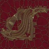 Modello astratto del cuore dell'oro su fondo rosso rappresentazione 3d Immagine Stock Libera da Diritti