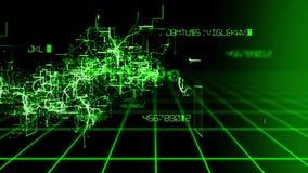 Modello astratto del fondo di animazione di alta tecnologia di un software digitale che infetta colore cambiante del virus del co video d archivio