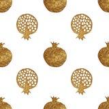 Modello astratto del melograno dell'oro Fondo senza cuciture paintied mano Illustrazione della frutta di estate Fotografia Stock Libera da Diritti