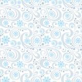 Modello astratto del nuovo anno con i fiocchi di neve blu ed i turbinii su bianco illustrazione vettoriale