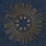 Modello astratto dell'oro su fondo blu rappresentazione 3d Immagini Stock
