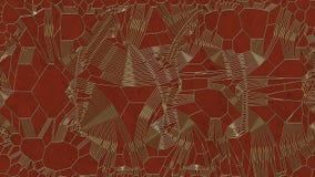 Modello astratto dell'oro su fondo rosso rappresentazione 3d Fotografia Stock