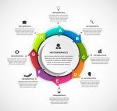Modello astratto di infographics di opzioni con le frecce in un cerchio Infographics per l'insegna di presentazioni o di informaz Immagine Stock