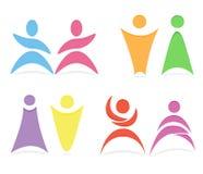 Modello astratto di logo di vettore della gente Immagine Stock