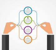 Modello astratto di progettazione di infographics con le mani umane che tengono i blocchetti del giro Fotografie Stock