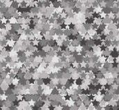 Modello astratto grigio senza cuciture Stampa delle stelle bianche, grige, nere su fondo dei triangoli e dei poligoni illustrazione vettoriale