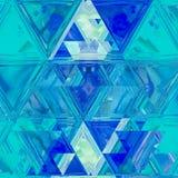 Modello astratto lineare in bianco ed in blu Insegna di vetro del mosaico Fondo triangolare in mattonelle del vetro macchiato immagine stock