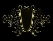 Modello astratto luminoso dell'oro e nero per disporre il logo illustrazione vettoriale