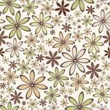 Modello astratto senza cuciture con i fiori beige e verdi Illustrazione di vettore Immagine Stock