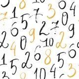 Modello astratto senza cuciture con i numeri disegnati a mano nello stile della spazzola Immagine Stock