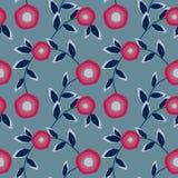 Modello astratto senza cuciture con l'ornamento dei fiori su fondo blu-chiaro Fotografia Stock