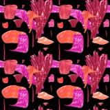 Modello astratto senza cuciture con le forme geometriche arancio e rosa royalty illustrazione gratis