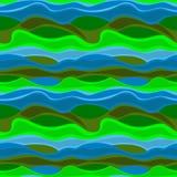 Modello astratto senza cuciture dalle figure ondulate del blu e del verde Per tessuto, abbigliamento ed altro usi Immagine Stock Libera da Diritti