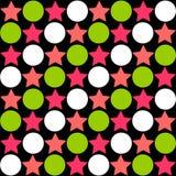 Modello astratto senza cuciture - stelle che alternano i cerchi in luminoso illustrazione vettoriale