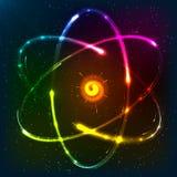 Modello atomico al neon brillante, illustrazione di vettore royalty illustrazione gratis