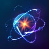 Modello atomico cosmico brillante blu di vettore royalty illustrazione gratis