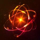 Modello atomico cosmico brillante rosso di vettore illustrazione di stock