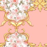 Modello barrocco senza cuciture con le foglie dorate decorative royalty illustrazione gratis