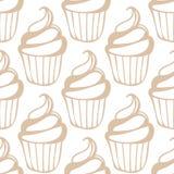 Modello beige leggero senza cuciture del bigné crema bianco Immagine Stock