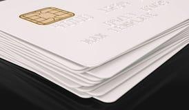 Modello bianco in bianco della carta di credito su fondo nero - rappresentazione 3D Immagine Stock