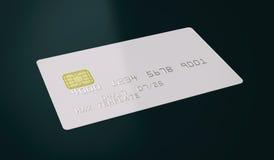 Modello bianco in bianco della carta di credito su fondo nero - rappresentazione 3D Fotografie Stock Libere da Diritti