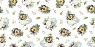 Modello bianco con il mazzo e l'uccello del fiore royalty illustrazione gratis