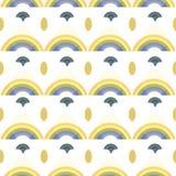 Modello bianco con l'arcobaleno e gli ornamenti royalty illustrazione gratis