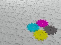 modello bianco degli ingranaggi 3D con gli ingranaggi di CMYK dentro Fotografia Stock Libera da Diritti