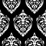 Modello bianco del damasco e nero senza cuciture Immagini Stock Libere da Diritti