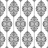 Modello bianco del damasco e nero senza cuciture Fotografia Stock