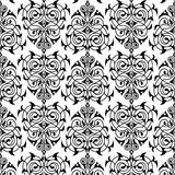 Modello bianco del damasco e nero senza cuciture Fotografie Stock Libere da Diritti