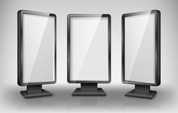 Modello in bianco del lightbox La via 3d vende al dettaglio i tabelloni per le affissioni di illuminazione Schermo realistico del illustrazione di stock