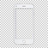 Modello bianco del telefono con lo schermo in bianco Fotografie Stock Libere da Diritti