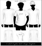 Modello bianco della maglietta degli uomini e della camicia di polo con la HU Fotografie Stock Libere da Diritti