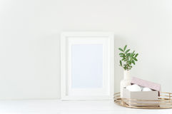 Modello bianco della struttura con la composizione in Pasqua Fotografia Stock Libera da Diritti