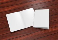 Modello bianco dello spazio in bianco dell'opuscolo del mezzo popolare A3 per derisione alta e progettazione di presentazione ill Fotografia Stock Libera da Diritti