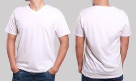 Modello bianco di progettazione della camicia del collo a V Immagine Stock Libera da Diritti
