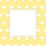 Modello bianco e giallo di vettore dei cuori Immagine Stock