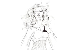 Modello in bianco e nero #2 dei capelli Immagine Stock Libera da Diritti