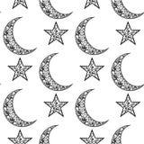 Modello in bianco e nero d'annata per il festival di Eid Mubarak, la luna crescente e la stella decorati su fondo bianco per il c Fotografie Stock Libere da Diritti