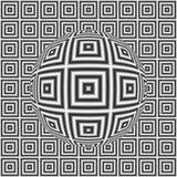 Modello in bianco e nero del quadrato di illusione ottica con la sfera 3D Fotografia Stock