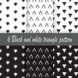 Modello in bianco e nero del triangolo 6 Immagini Stock