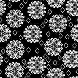 Modello in bianco e nero senza cuciture con i cerchi del pizzo Fotografia Stock