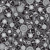 Modello in bianco e nero senza cuciture con Paisley ed i fiori Stampa di vettore Immagine Stock