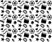 Modello in bianco e nero senza cuciture del cinema Immagini Stock Libere da Diritti