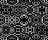 Modello in bianco e nero senza cuciture del ricamo Immagini Stock